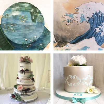 a grid of images featuring two painted cakes inspired by Monet's water lilies and Hokusai's 'the Wave', a semi-naked wedding cake, and a beach themed fondant cake