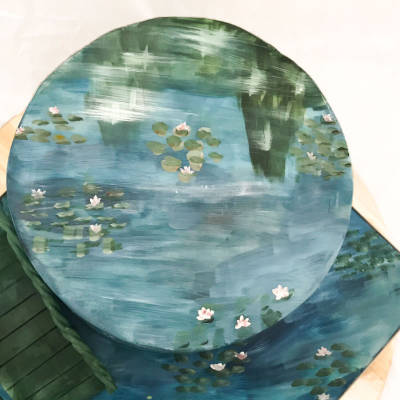 A painted cake inspired by Monet's water lilies